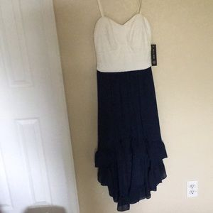 Navy blue and white high low dress.